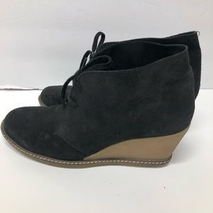 J. Crew Mcalister Black Suede Wedge Ankle Boots